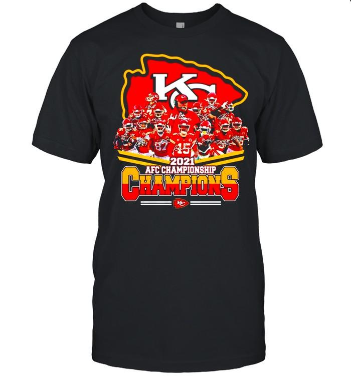 Kansas City Chiefs 2021 AFC championship Champions signatures shirt Classic Men's T-shirt