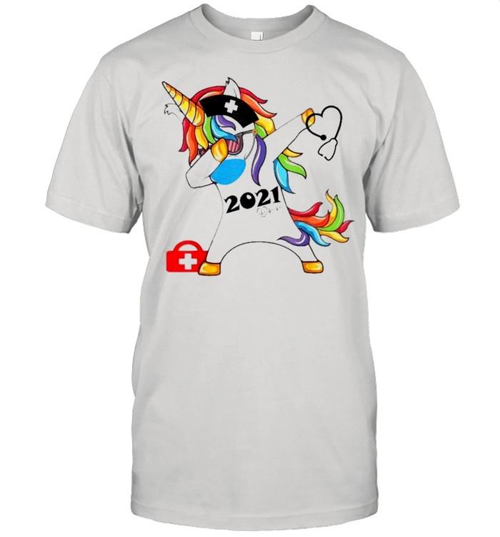 Unicorn dabbing nurse 2021 Stethoscope shirt Classic Men's T-shirt