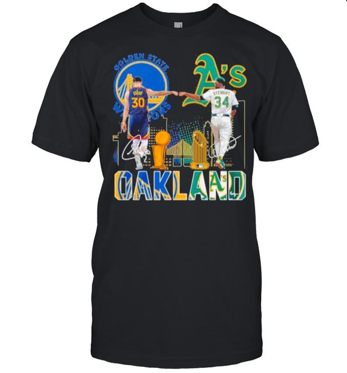 Curry Golden State Warriors and Stewart Oakland Athletics Oakland signatures shirt Classic Men's T-shirt