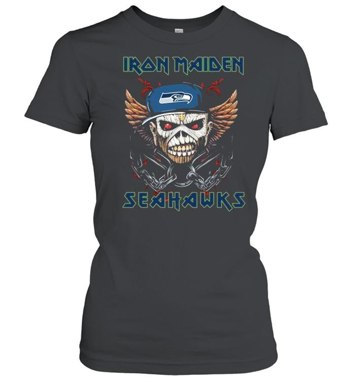 Iron Maiden Skull Seattle Seahawks shirt Classic Women's T-shirt