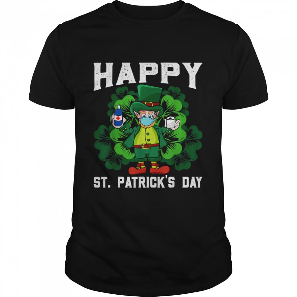 Leprechaun In Mask Happy St Patricks Day Quarantine shirt Classic Men's T-shirt