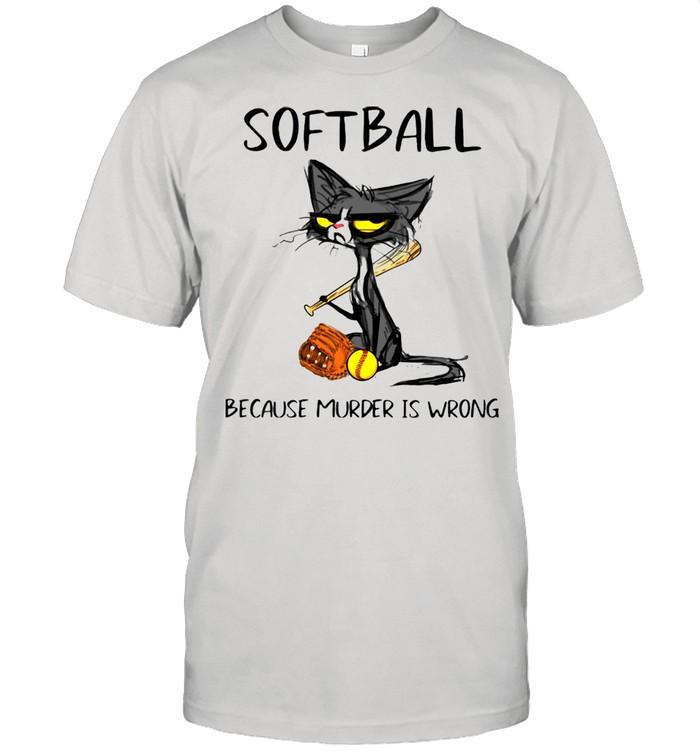 Softball Because Murder Is Wrong Black Cat  Classic Men's T-shirt