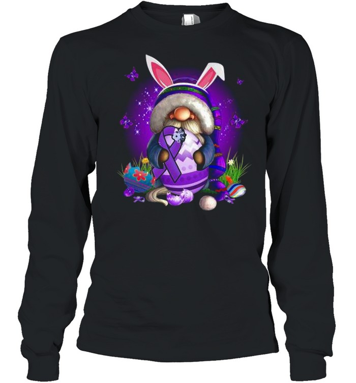 Bunny Gnome Hug Purple Lupus Awareness Happy Easter 2021 shirt Long Sleeved T-shirt