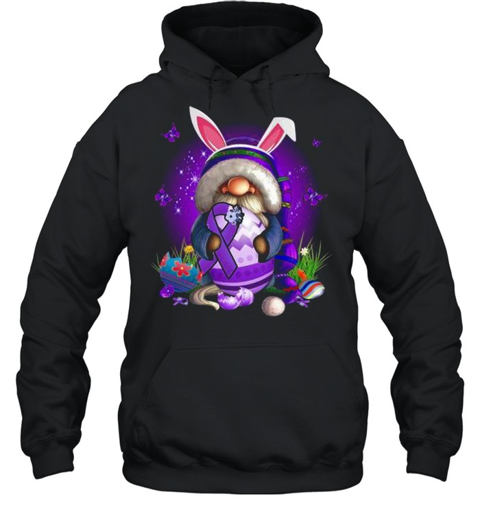 Bunny Gnome Hug Purple Lupus Awareness Happy Easter 2021 shirt Unisex Hoodie