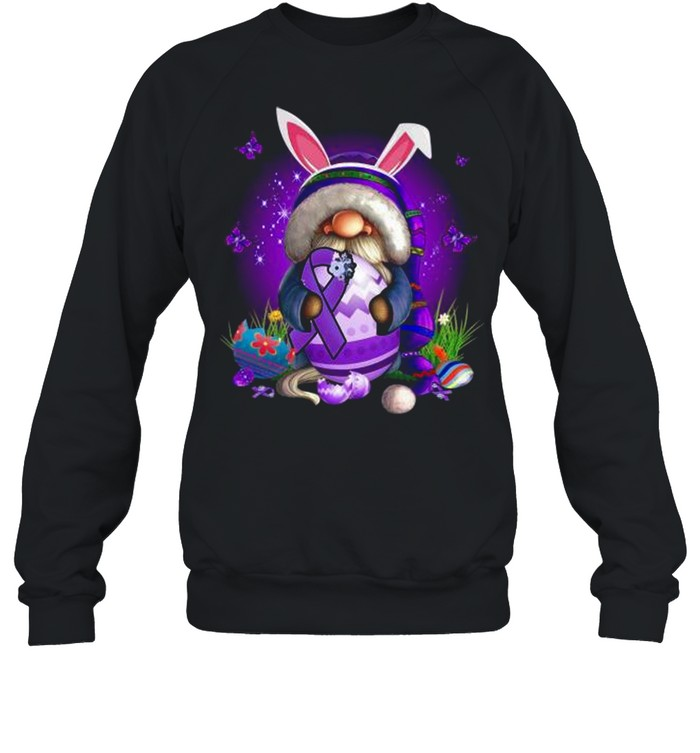 Bunny Gnome Hug Purple Lupus Awareness Happy Easter 2021 shirt Unisex Sweatshirt