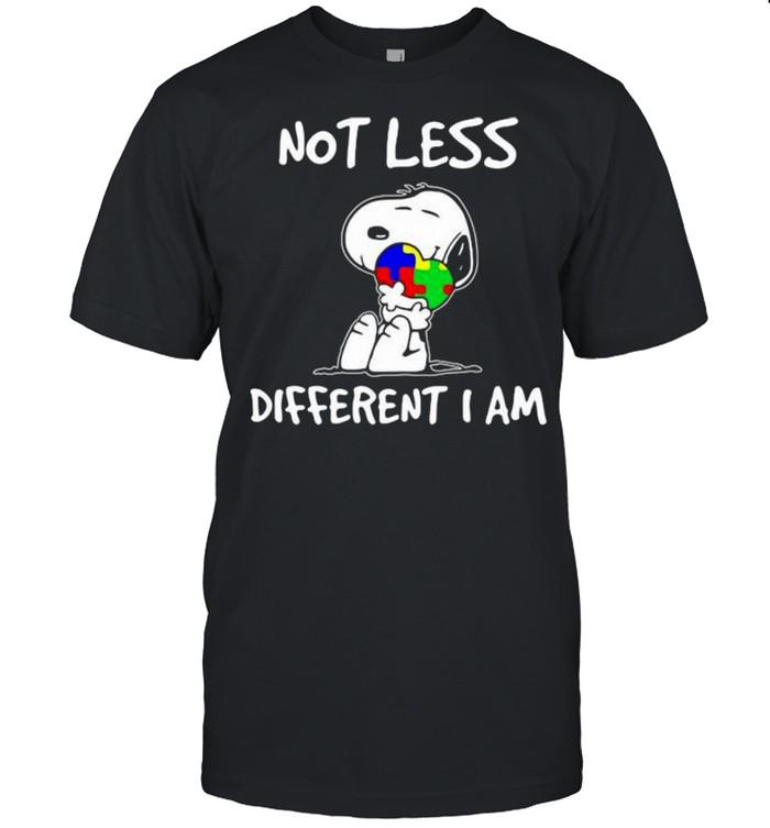 Snoopy Hug Heart Autism Awareness Not Less Different I Am  Classic Men's T-shirt