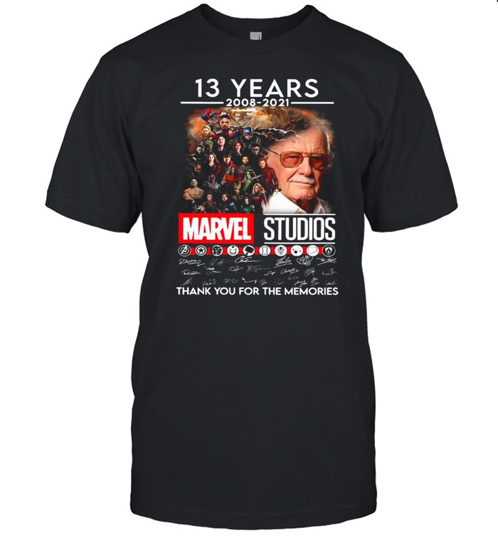 Stan Lee And Marvel Studios Movie Characters With 13 Years 2008 2021 Signatures Thank You For The Memories shirt Classic Men's T-shirt