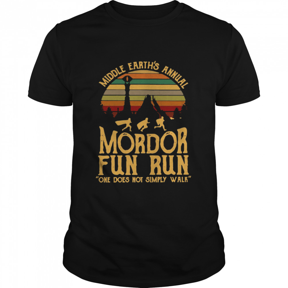 Middle Earth's Annual Mordor Fun Run One Does Not Simply Walk Vintage Retro T-shirt Classic Men's T-shirt