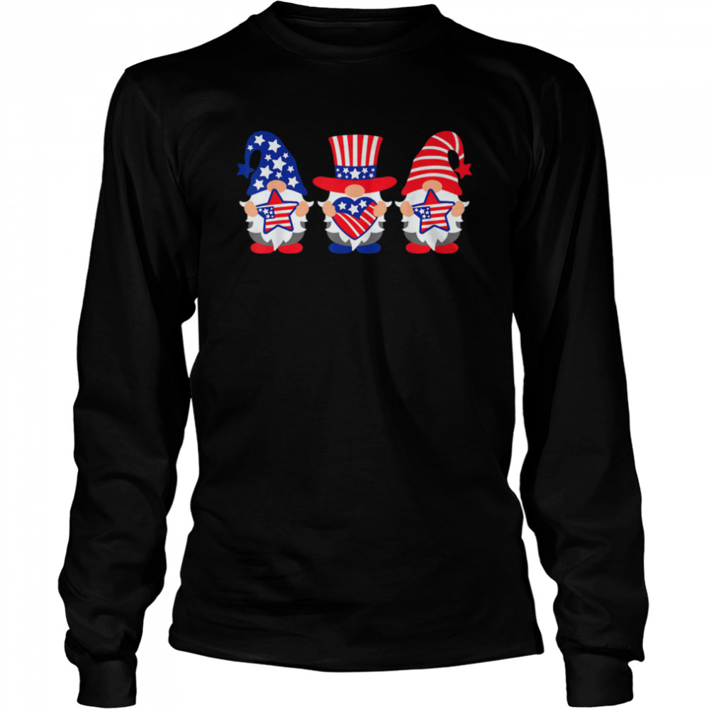 Three Gnomes 4th Of July American USA Patriotics shirt Long Sleeved T-shirt