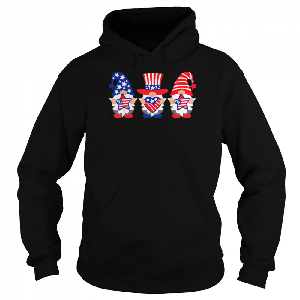 Three Gnomes 4th Of July American USA Patriotics shirt Unisex Hoodie