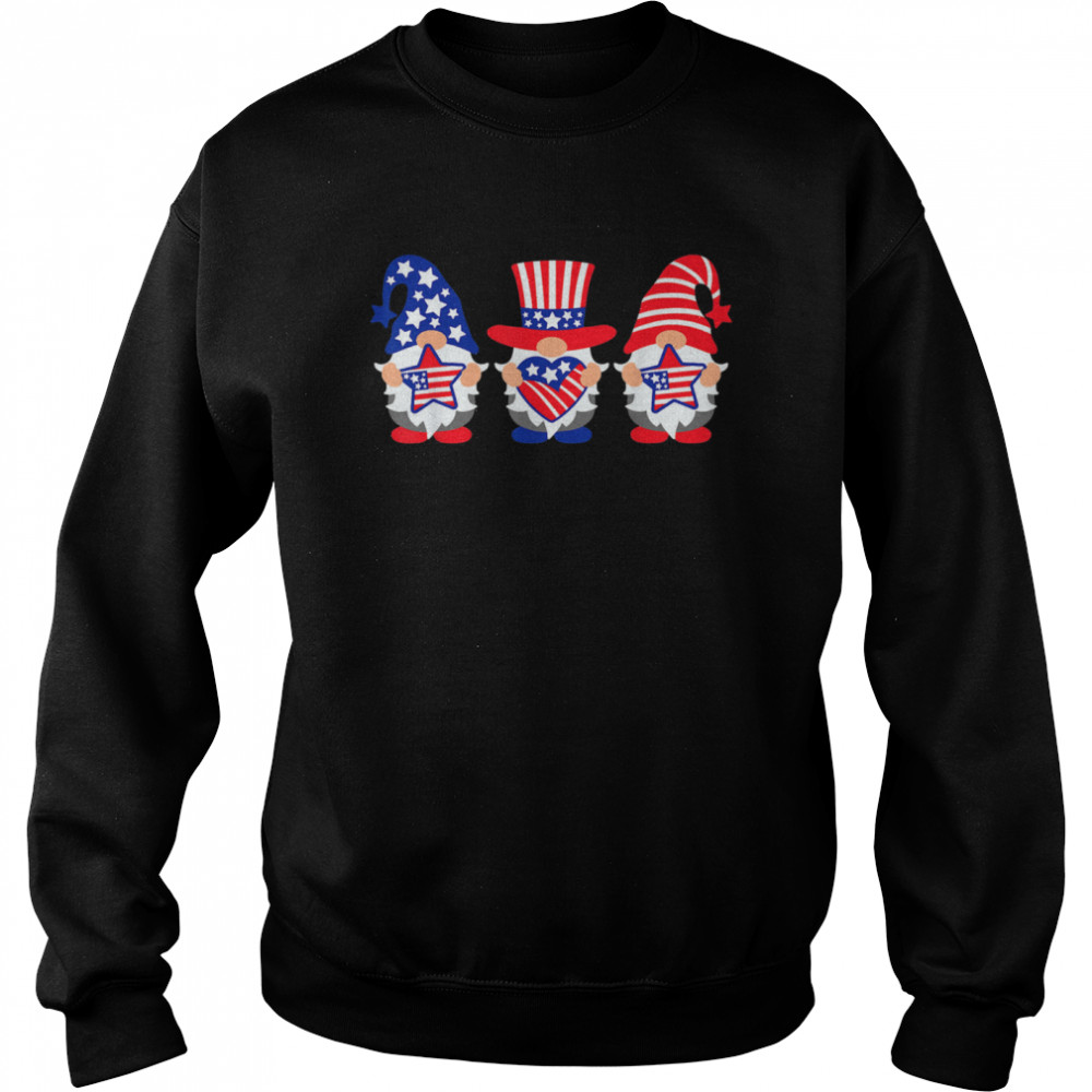 Three Gnomes 4th Of July American USA Patriotics shirt Unisex Sweatshirt