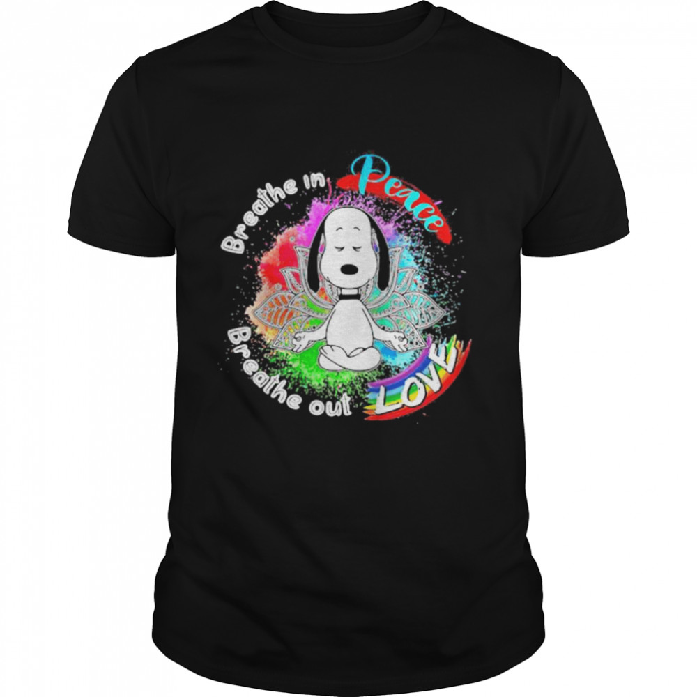 Breathe In Peace Breathe Out Love Snoopy Yoga Lgbt  Classic Men's T-shirt