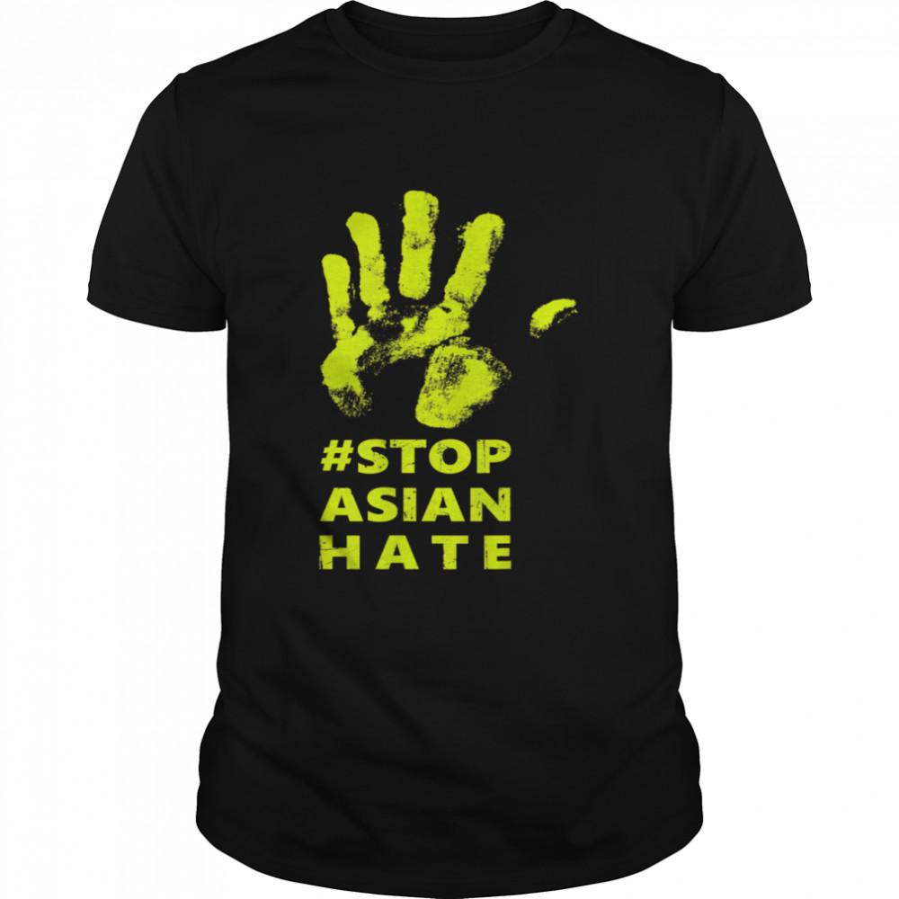 Stop Asian Hate Anti Asian Racism AAPI Awareness Hand Print  Classic Men's T-shirt