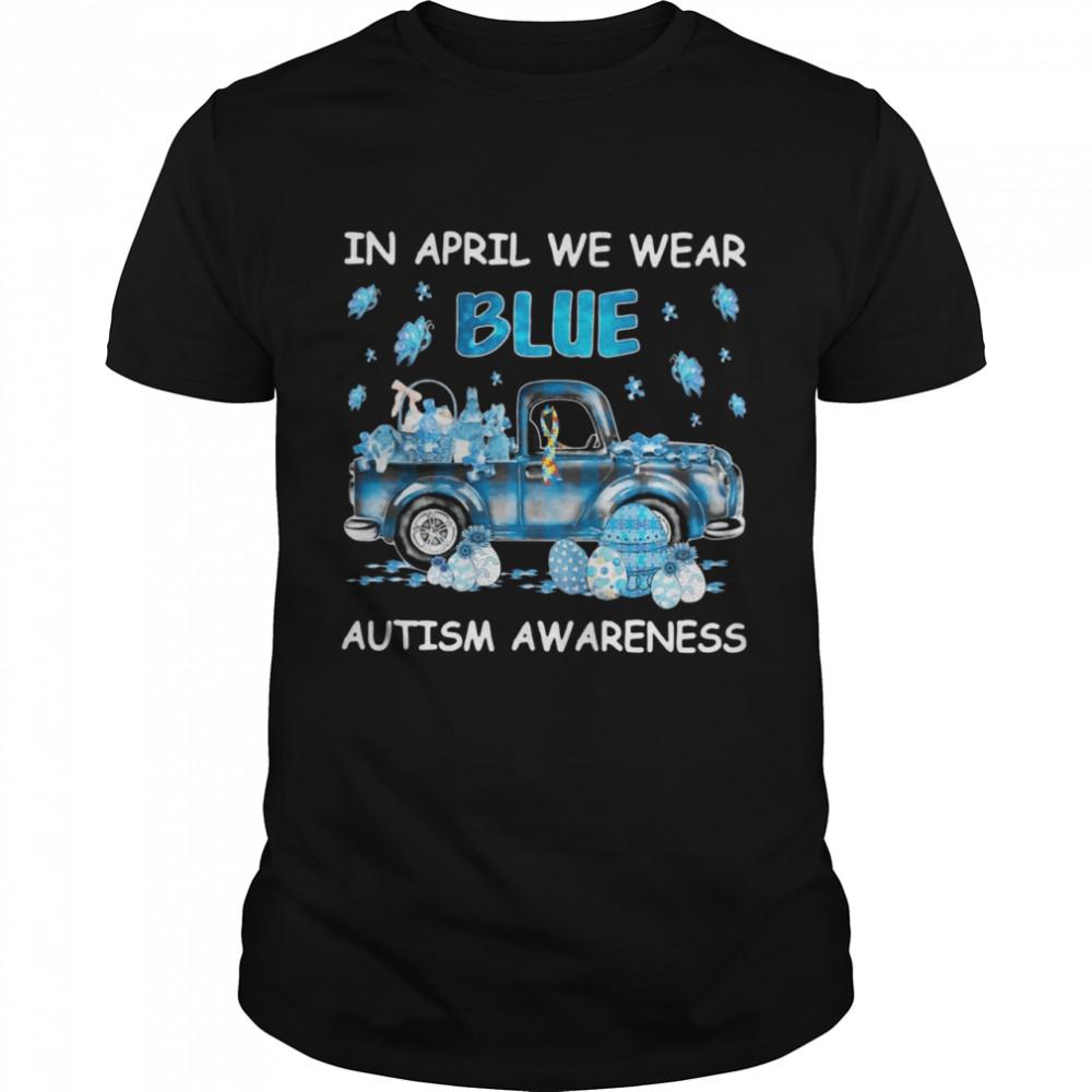 Car In April We Wear Blue Autism Awareness  Classic Men's T-shirt