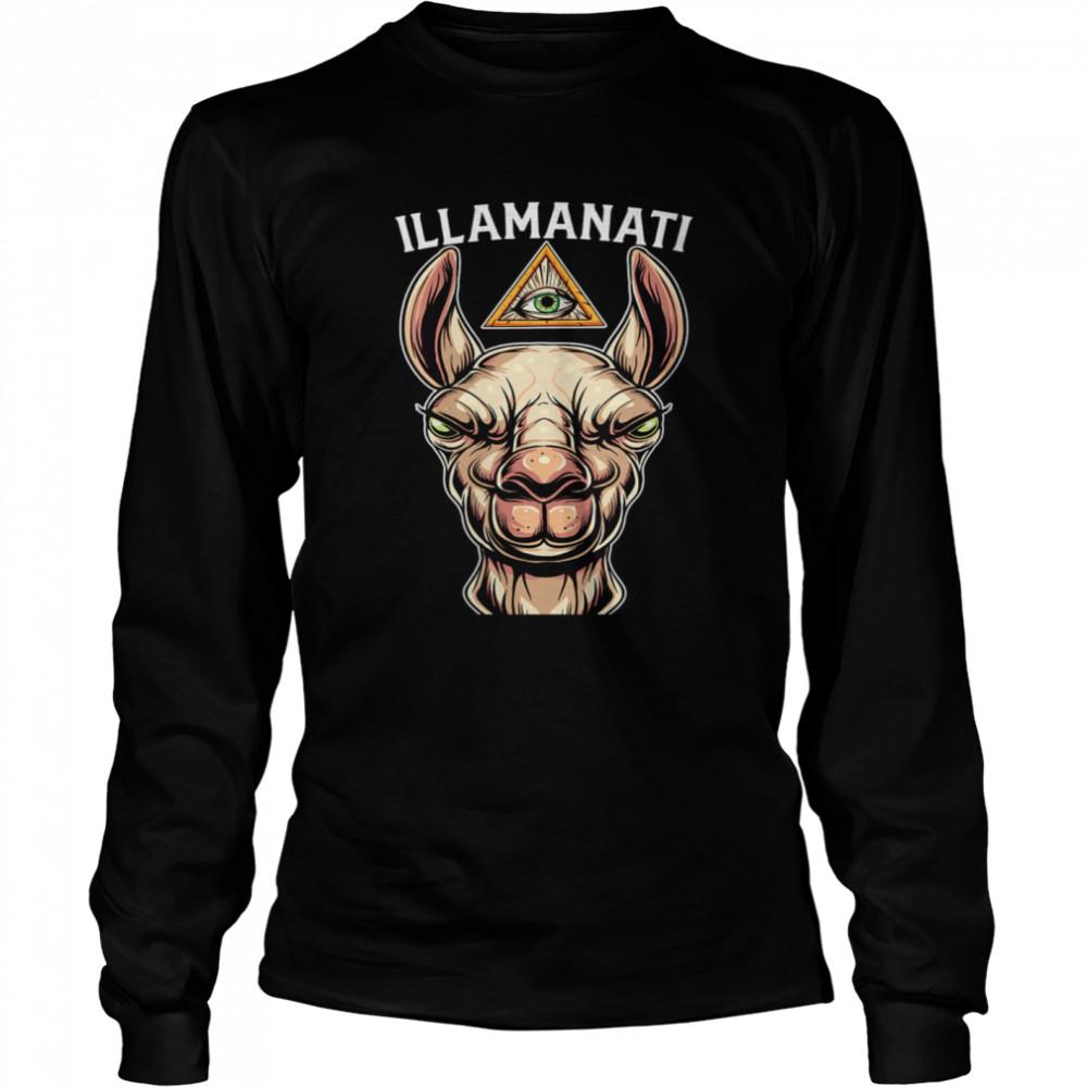 Illamanati Illuminati Llama Alpaca Occult Llama Eye  Long Sleeved T-shirt