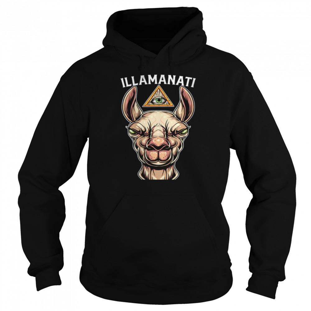 Illamanati Illuminati Llama Alpaca Occult Llama Eye  Unisex Hoodie