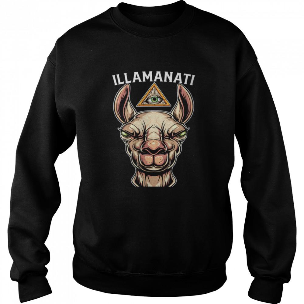 Illamanati Illuminati Llama Alpaca Occult Llama Eye  Unisex Sweatshirt