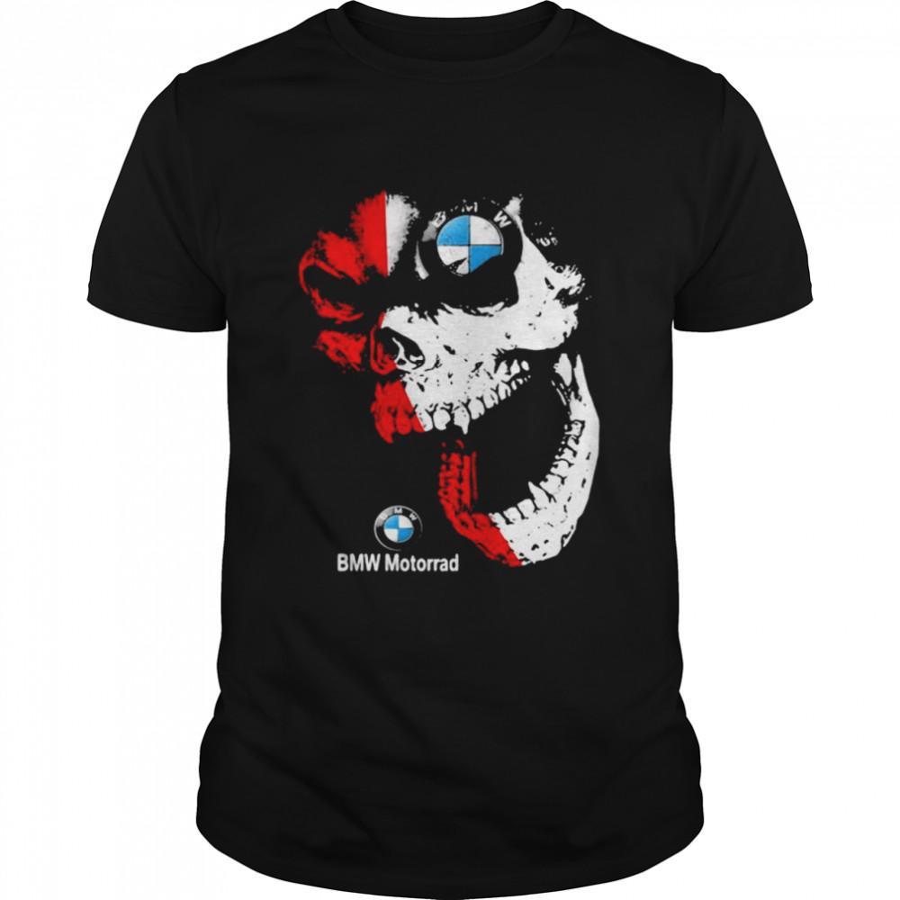 Skull Red White With Bmw Motorrad Logo  Classic Men's T-shirt