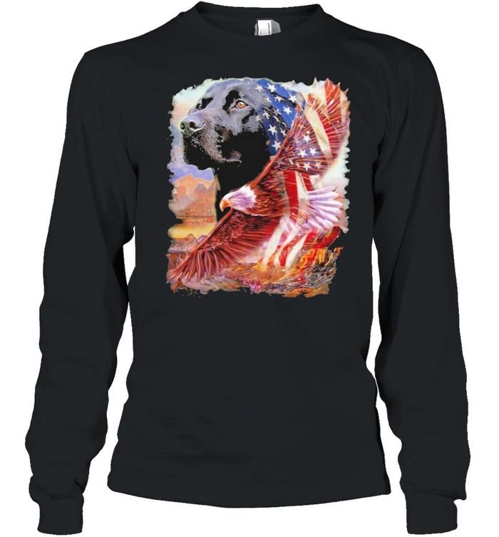 Eagle Black Labrador Retriever American Wings Happy 4th Of July  Long Sleeved T-shirt