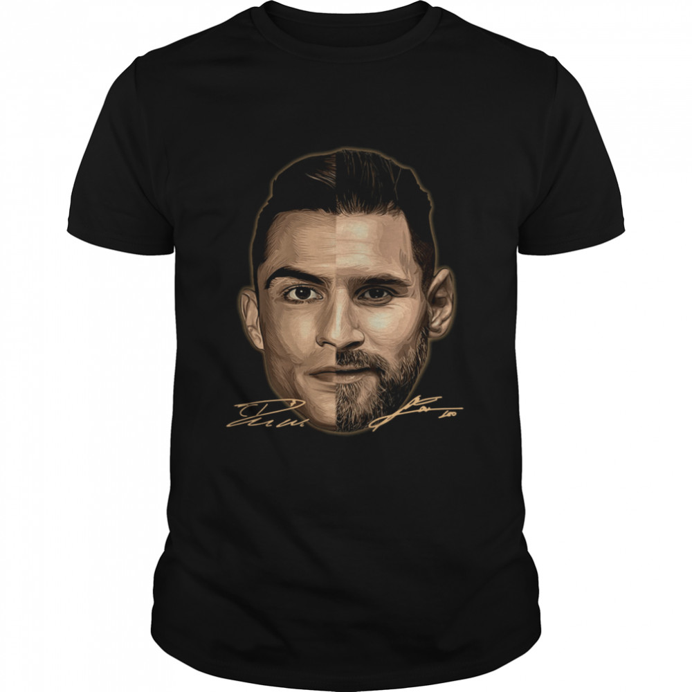 Cristiano Ronaldo And Lionel Messi Face Signatures shirt Classic Men's T-shirt