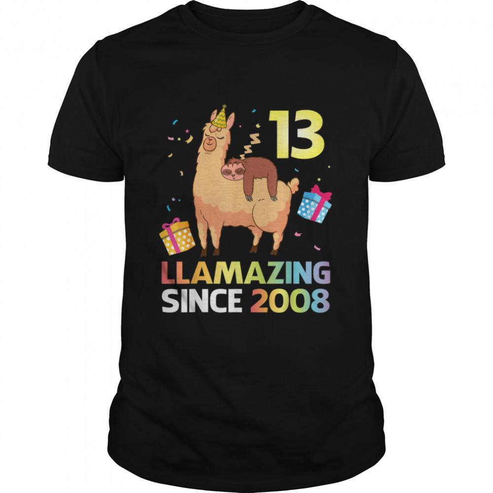 Sloth Sleep On Llama Birthday 13 Years Llamazing Since 2008  Classic Men's T-shirt