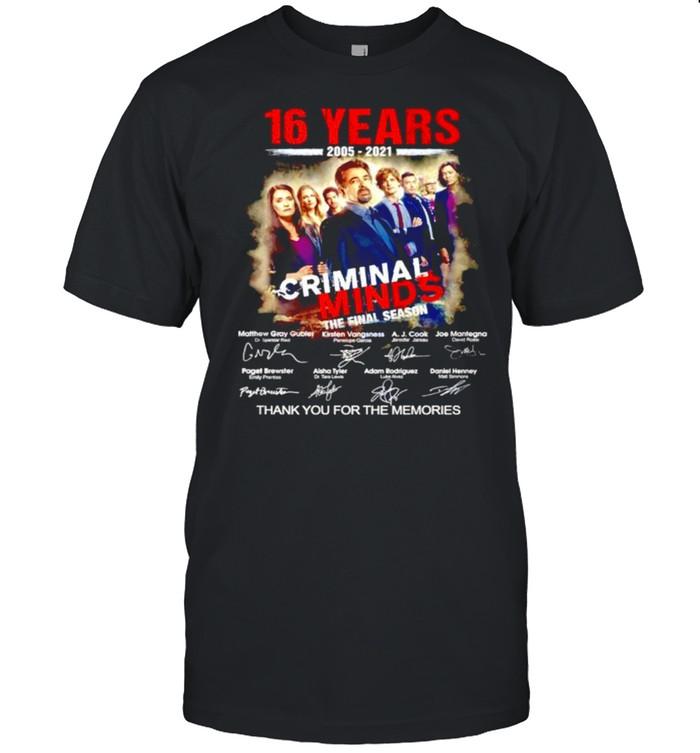 16 Years 2005-2021 Criminal Minds the final season thank you for the memories signatures shirt Classic Men's T-shirt