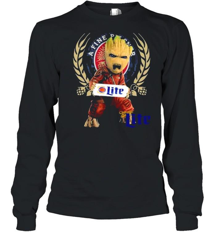 Baby Groot Hug A Fine Pilsner Lite Logo  Long Sleeved T-shirt
