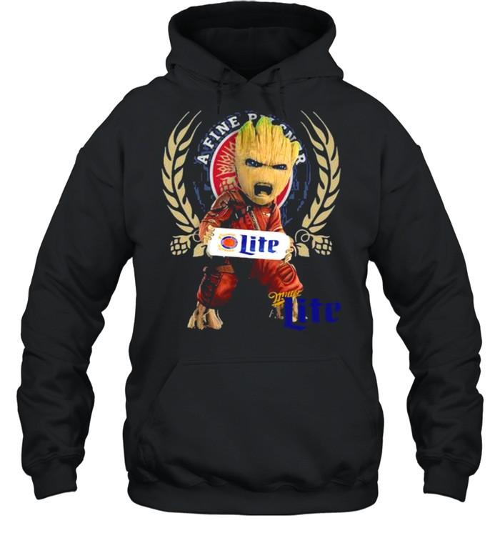 Baby Groot Hug A Fine Pilsner Lite Logo  Unisex Hoodie