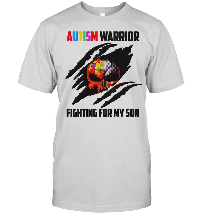 Blood Inside Skull Autism warrior fighting for my son shirt Classic Men's T-shirt