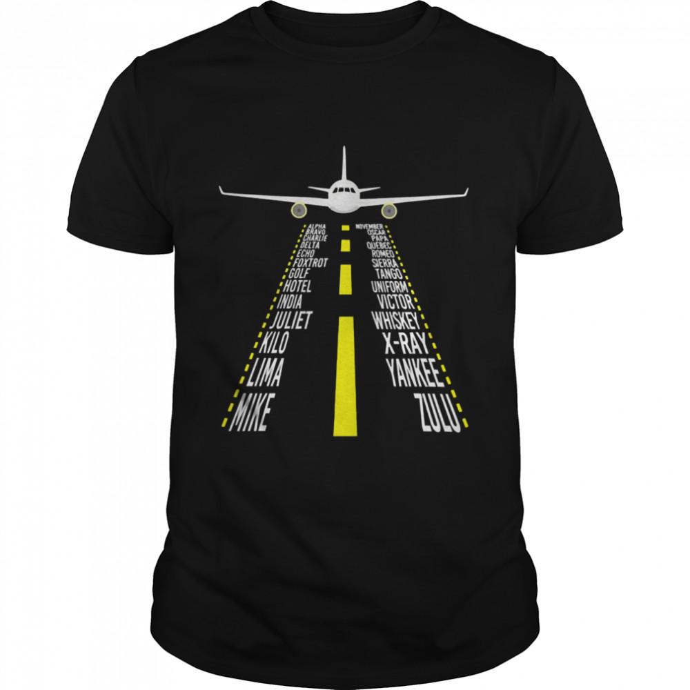 Pilot phonetic alphabet airplane alpha bravo charlie delta echo foxtrot shirt Classic Men's T-shirt