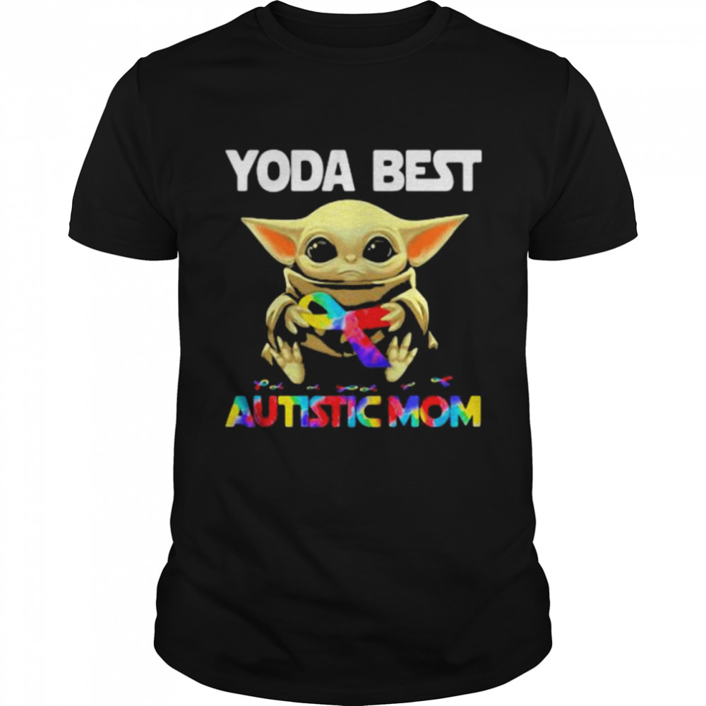Yoda Best Autistic Mom Ribbon  Classic Men's T-shirt
