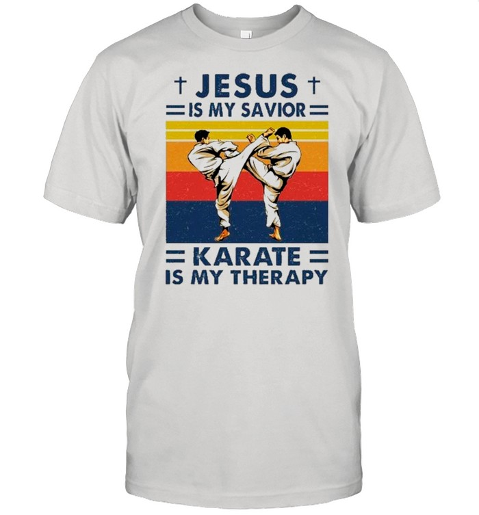 Jesus Is My Savior Karate Is My Therapy Vintage shirt Classic Men's T-shirt