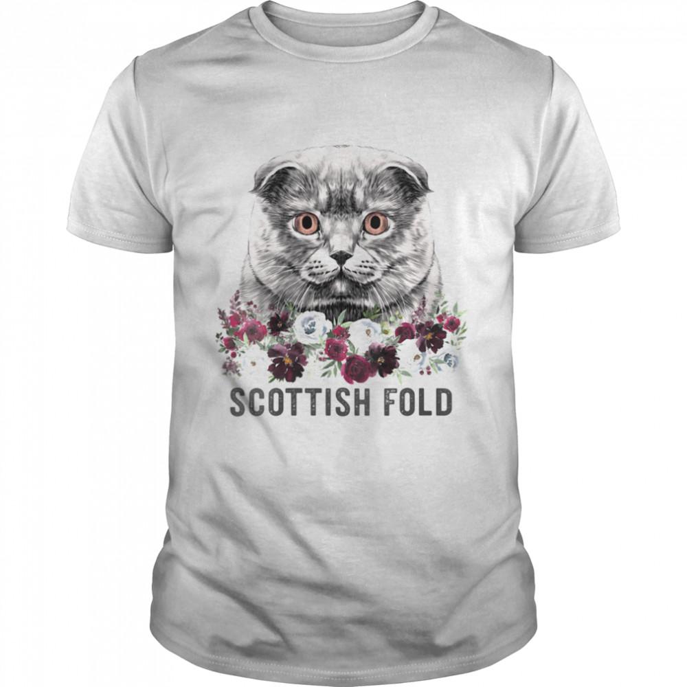 Scottish Fold Cat Mom Floral  Classic Men's T-shirt