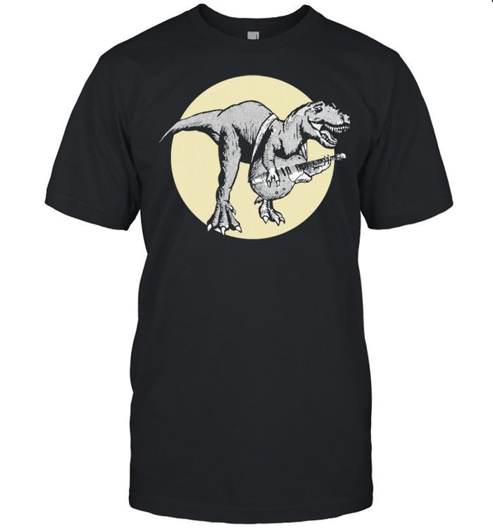 Dinosaur and Electric Guitar Tyrannosaurus Music Retro  Classic Men's T-shirt