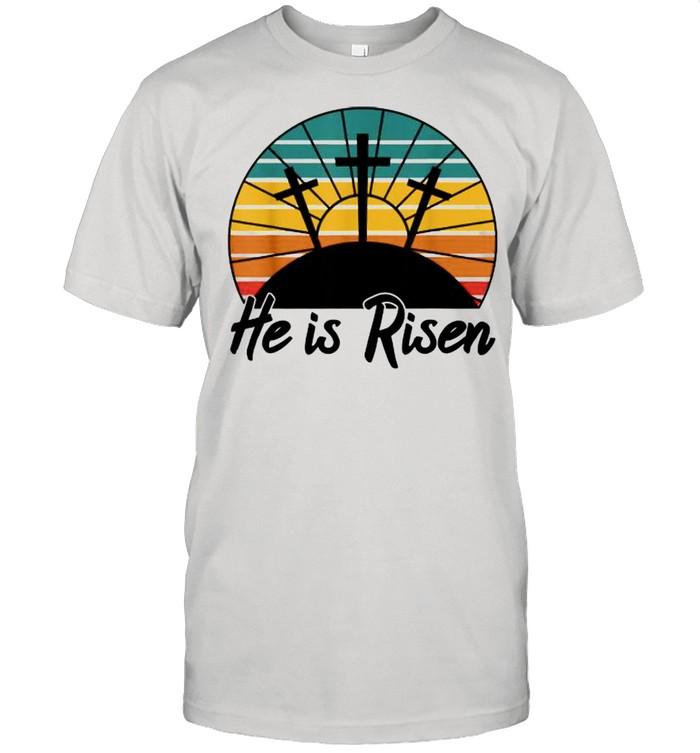 He Is Risen Jesus Christian Cross Religious Easter Vintage  Classic Men's T-shirt