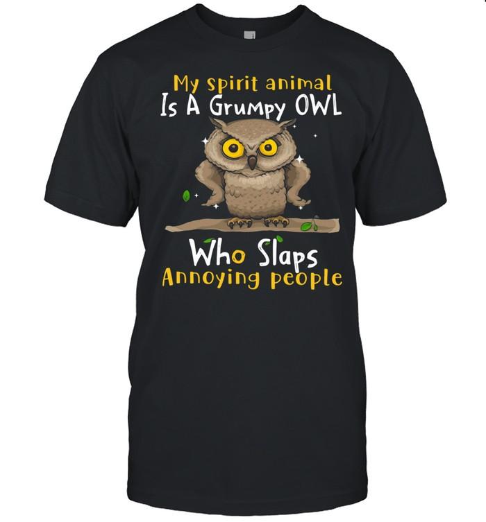 My Spirit Animal Is A Grumpy Owl Who Slaps Annoying People  Classic Men's T-shirt