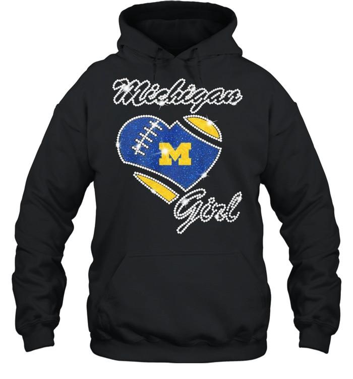 Heart Michigan Girl Diamond shirt Unisex Hoodie