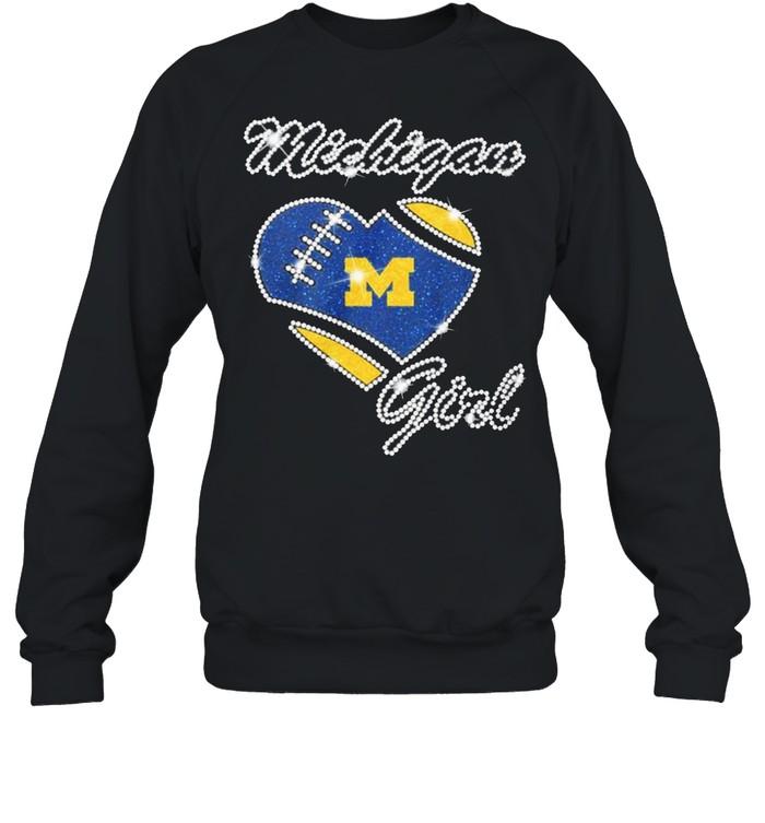 Heart Michigan Girl Diamond shirt Unisex Sweatshirt