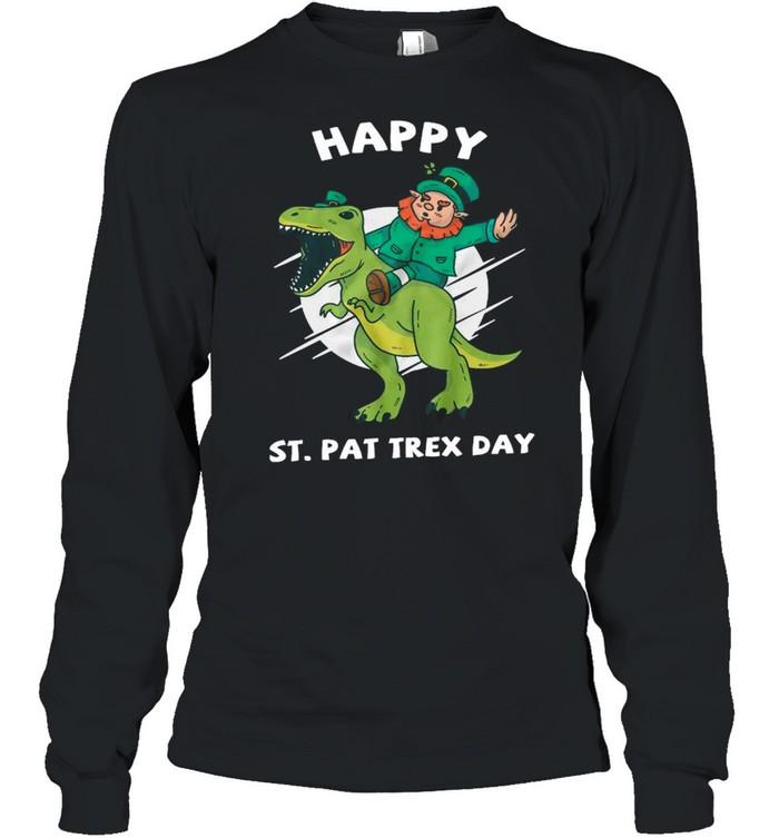Leprechaun Ride Dinosaur Happy St Pat Trex Day shirt Long Sleeved T-shirt