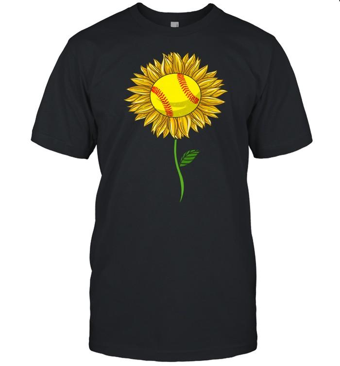 Softball Sunflower For Sports Flower  Classic Men's T-shirt
