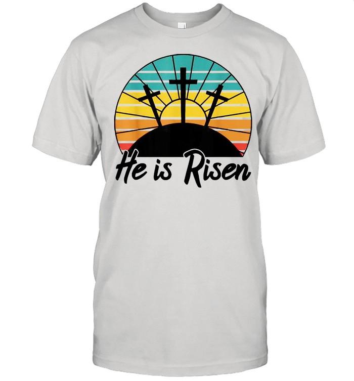 Vintage Christian Cross Religious Easter He Is Risen Jesus shirt Classic Men's T-shirt