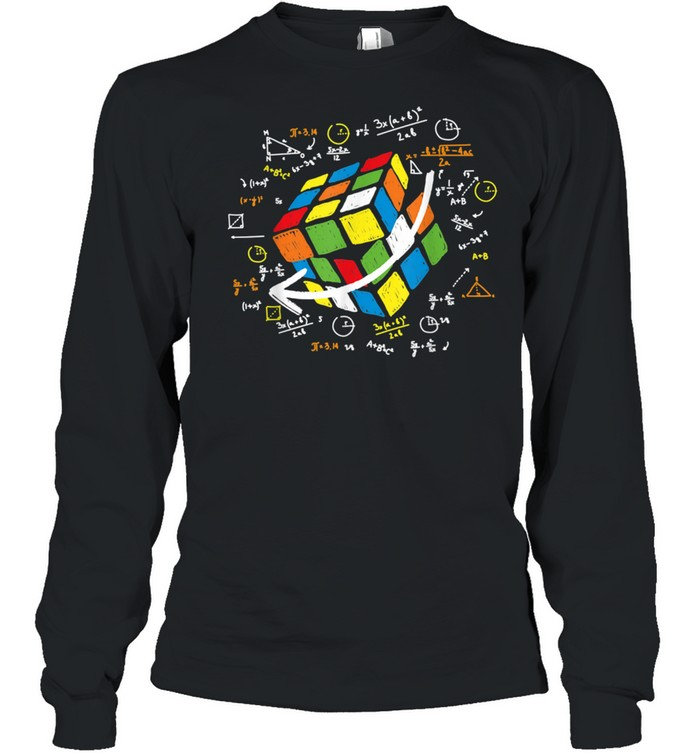 Cool Math Rubik Rubix Rubics Player Cube Maths shirt Long Sleeved T-shirt