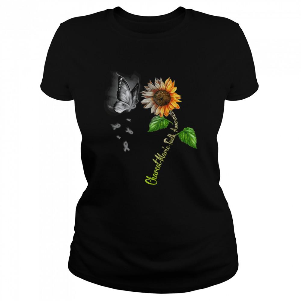 Butterfly Sunflower Charcot Marie Tooth Awareness shirt Classic Women's T-shirt