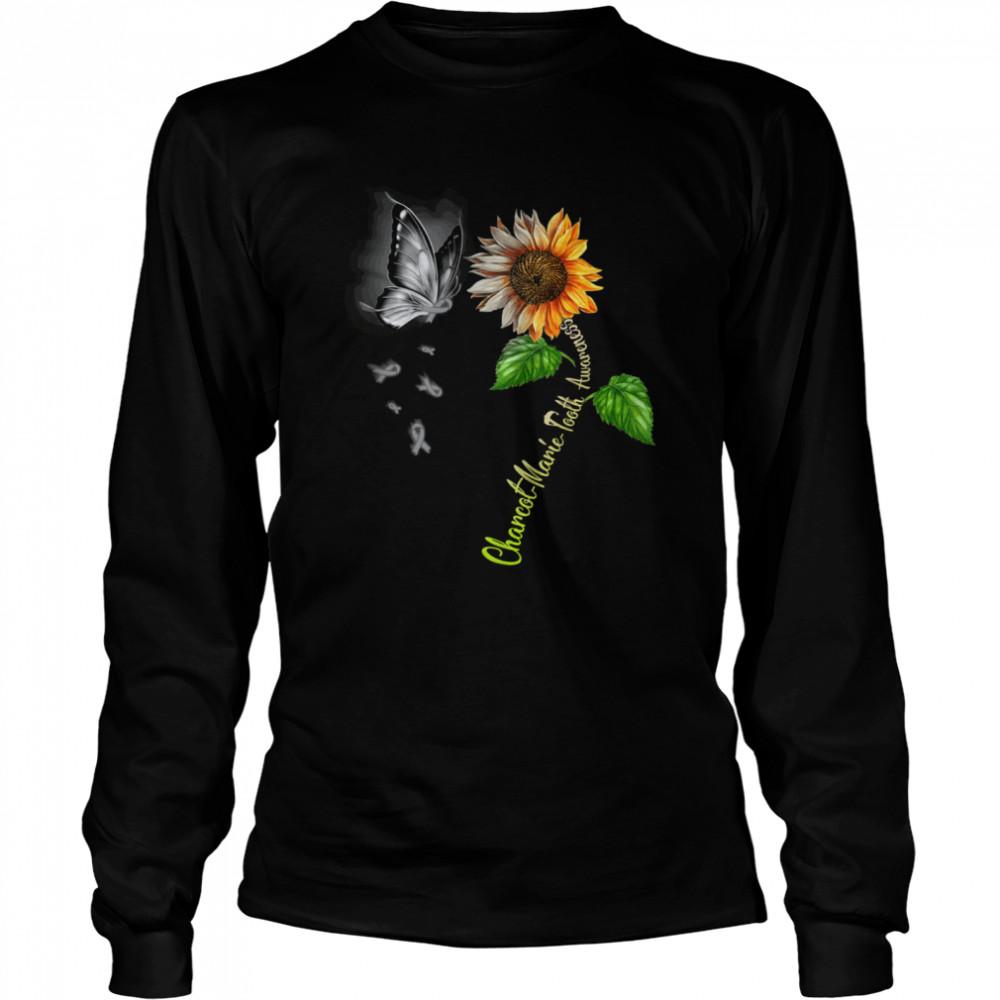 Butterfly Sunflower Charcot Marie Tooth Awareness shirt Long Sleeved T-shirt