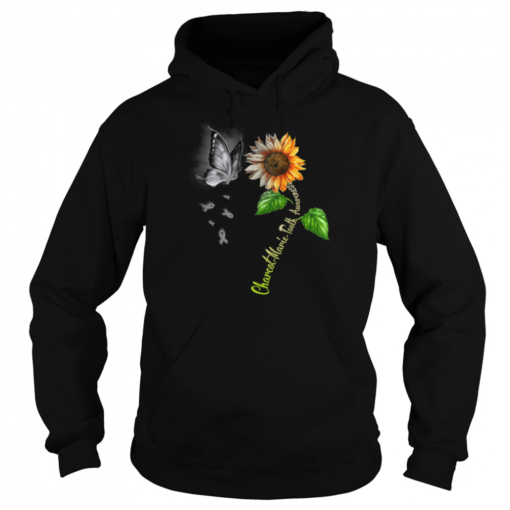 Butterfly Sunflower Charcot Marie Tooth Awareness shirt Unisex Hoodie