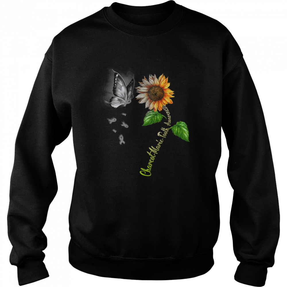 Butterfly Sunflower Charcot Marie Tooth Awareness shirt Unisex Sweatshirt