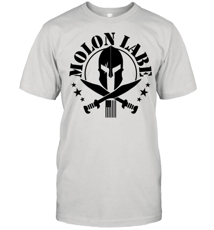 Epic 2A Spartan Molon Labe Patriotic American Flag shirt Classic Men's T-shirt