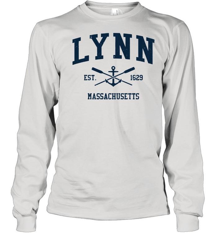 Lynn MA Vintage Navy Crossed Oars & Boat Anchor shirt Long Sleeved T-shirt