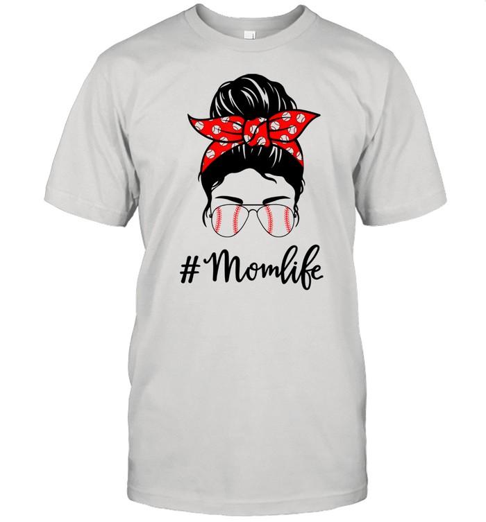Mom Life Baseball Softball Mothers Day Messy Bun  Classic Men's T-shirt