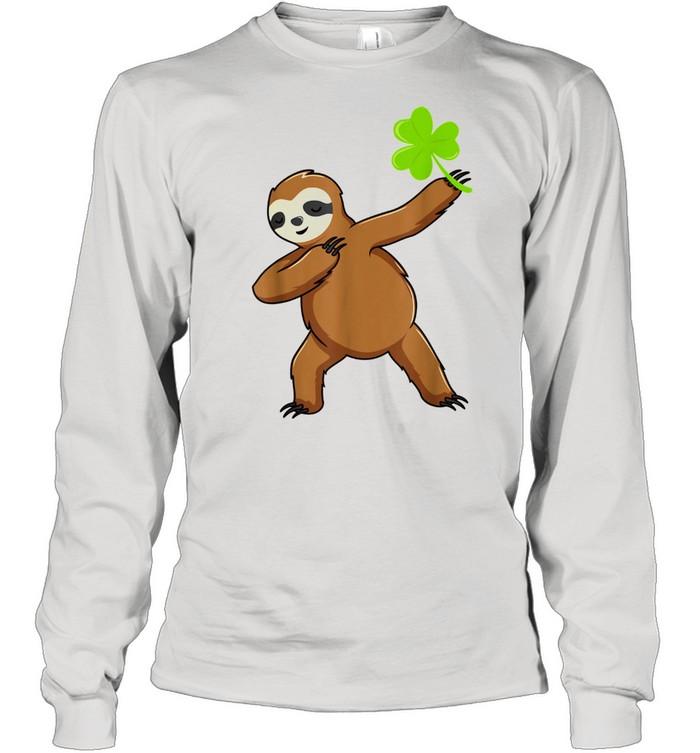 Irish Leprechaun Dabbing Sloth St Patrick's Day Green shirt Long Sleeved T-shirt